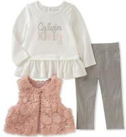 Calvin Klein Infant Girls Fluffy Vest 3pc Pant Set Size 3/6M 6/9M 12M 18M 24M