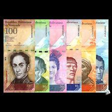 A Set of 6 PCS Venezuela 2 + 5 + 10 + 20 + 50+100 Bolivares Banknotes  UNC