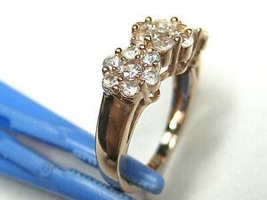 "10k Rose Gold Ring w/21 ""Clear "" Topaz  Gems 1.23 TCW - Sz 7 1/4  & wt. 4.46 gms"