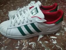Adidas superstar uomo 45 1/3 Bianche Con Strisce Verdi E Rosse come nuove