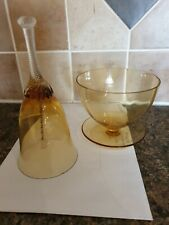 Two Glass Amber Items Bell And Glass/saucer