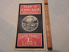 "Rare 1930? CHICAGO RAPID TRANSIT CRT ""L"" Subway Train Railroad Map 14x20"