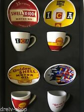SHELL Espresso Espressotassen 4 Tassen - Set mit Unterteller Keramik