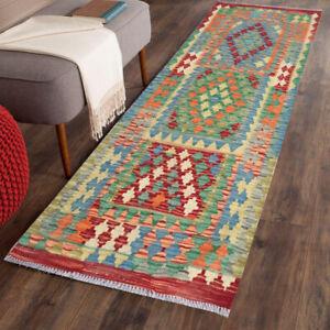 9684 Afghan Runner Kilim Hand Knotted Rug Kitchen Morrocan Wool Kilim Rug 6X2