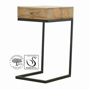 Geometric Style Bedside/End Table With Iron Base