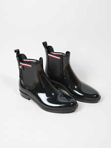 Tommy Hilfiger Ladies Womens Rain Ankle Boots Wellies Black Size 41 UK 7 USA 9.5