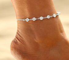 Silberne Fußkette | Diamanten | Damen | Länge 21-26cm | 925 Sterling Silber