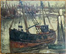 Tableau Post Impressionnisme Marine Port Chalutier Huile signature à identifier