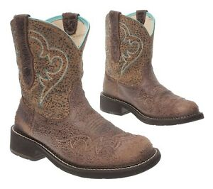 ARIAT FATBABY Cowboy Boots 9 B Womens Brown Leather Western Rodeo Roper Boots