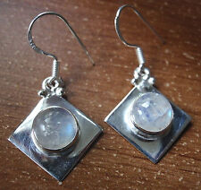 Moonstone Earrings 925 Sterling Silver Round Sphere Square Cube Dangle #86b