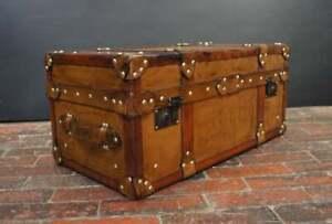 Handmade English Tan Leather Coffee Chest Coffee Table Trunk Box