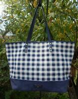 Cole Haan Nantucket Blue & White Gingham Check Canvas & Leather Tote Bag