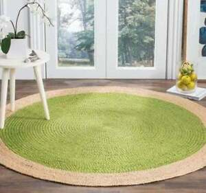 handmade braided light green with natural border jute round rugs home decor rug