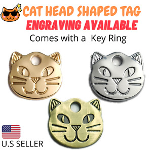 Kitty Cat Head Shaped Cat Tags Tag Cat Pet Tag Keychain Engraved Personalized