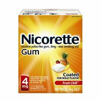 2 Pack Nicorette Nicotine Gum 4Mg Fruit Chill Flavor 100 Pieces Each