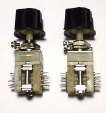 2 mini-commutateurs 2x8 positions contacts argentés avec leur bouton NOS NIB USA