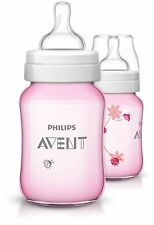 Philips Avent Baby Classic Bottle 260 Ml Pink Lady Bugs Pack of 2 Ergonomic