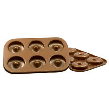Non-Stick Carbon Steel 6-Cavity Mini Donut Pan Baking Mold Tray, Copper, 2-Pack