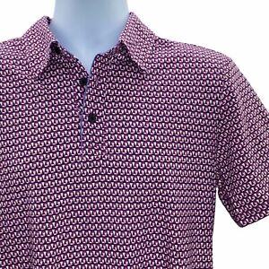 Jones New York Mens L Polo Shirt Purple Geometric Spread Collar Short Sleeve NEW