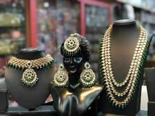 Gold Plated Kundan Bridal Jewelry Necklace Set Bollywood Indian Green Chandbali