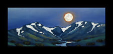 W HAWKINS Framed Moon Landscape Impressionism Mountain Art Oil Painting Original
