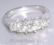 Diamond 5-anello di pietra 1.00ct VS2 Rotondo TAGLIO A BRILLANTE IN ORO BIANCO 18ct