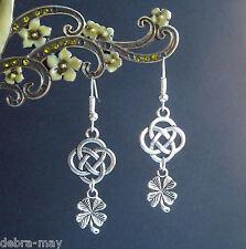 Lucky Four Leafed Clover Shamrock Celtic Knot Dangly Earrings