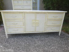 Faux Bamboo Dresser Bureau Credenza Sideboard Buffet Hollywood Regency Wicker