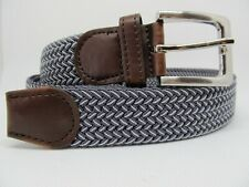 """Men Gray and White Stretch Belt with Silver Buckle XL 42 - 44"""" #2041"""