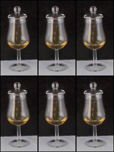 6 Tasting Whiskey Gläser + Glas Deckel Whisky Likör Single Malt Kelch Rum Nosing