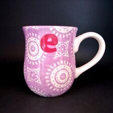 Sonoma Initial Mug Letter E Monogram Coffee Tea Cup White Lavender Purple