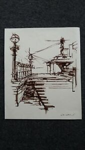 Original brown ink stick line drawing of the steps UCL building London on paper