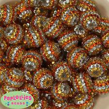 20mm Candy Corn Rhinestone Bubblegum Beads 20pc  orange gold silver Gumball