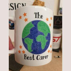 The Worlds best Carer, Mum, Dad, Son Daughter Personalised mug