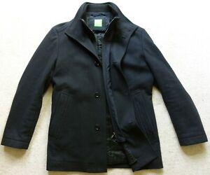 "Hugo Boss Charcoal Black Winter Coat. 40-42"" Chest, Wool Blend, Cox Coxtan, Zip"