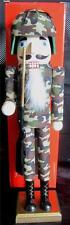 """15"""" Armed Forces Army Wooden Nutcrackers Soldier Fabric Camoflage Clothing 70622"""