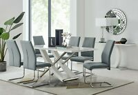 MAYFAIR White Grey High Gloss Chrome Dining Table Set and 6 Leather Chairs Seats