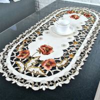 Embroidered Lace Dining Table Runner Tablecloth Wedding Party Home Decor Floral