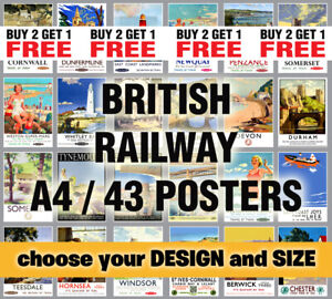 British Railway Train Posters Vintage Travel Print Picture Retro Wall Art A3 A4