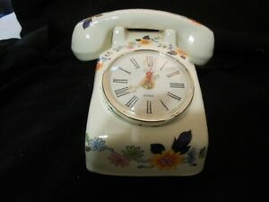 Quartz Desk Clock Full Size Table Telephone Floral Design Hand Made in USA