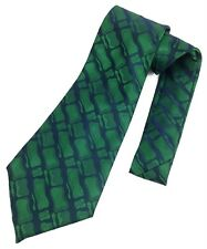 Vintage Necktie Wide Neck Tie Kipper Jacquard Woven Shiny Metallic Green Punk