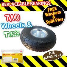 TROLLEY WHEELS x 2 SOLID NYLON RUBBER 10 inch 16 mm NEW (4.10/3.50-4) Tyre