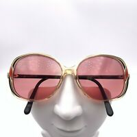 Vintage Lunettes JE Yellow Black Translucent Oval Sunglasses France FRAMES ONLY