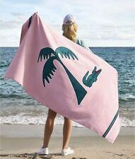 "Beautiful Lacoste Beach Towel 100% Cotton Pink Croco Palm New 36x72"" Big"
