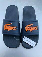 LACOSTE Men's Slide Sandals Classic Crocodile Logo Sizes 8-13 Navy Blue Orange