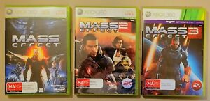 Mass Effect 1, 2, & 3 Xbox 360 Full Set Bioware Great Condition PAL 2007 - 2012