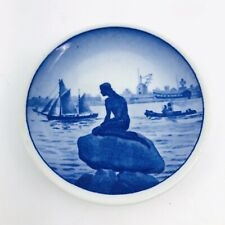 Vintage Royal Copenhagen Blue Ware Mini Plate Langelinie Little Mermaid 3.25""