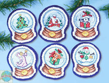 Cross Stitch Kit ~ Design Works 6 Snowglobe Christmas Holiday Ornaments #DW1678