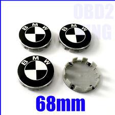 4 PCS FOR BMW BLACK WHITE 68mm Wheel Center Cover Emb Sign Logo Hub Cap Set