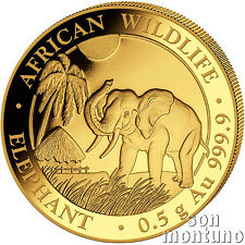 2017 SOMALIA GOLD ELEPHANT - 1/2 Gram 24k Coin in Capsule African Wildlife .9999
